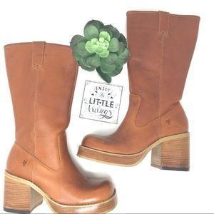 Vintage Retro Chunky Heel Frye Platform Boots
